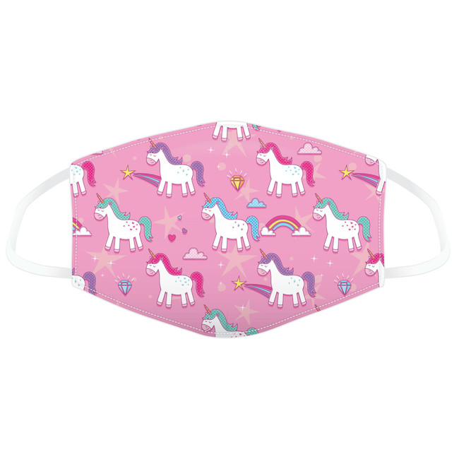 Enchanted Rainbows Pink Unicorn Reusable Face Covering - Small