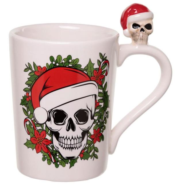 Jingle Bones Christmas Skull on Handle Ceramic Mug