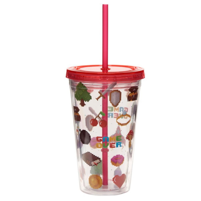 Game Over Double Walled Reusable Cup with Straw and Lid