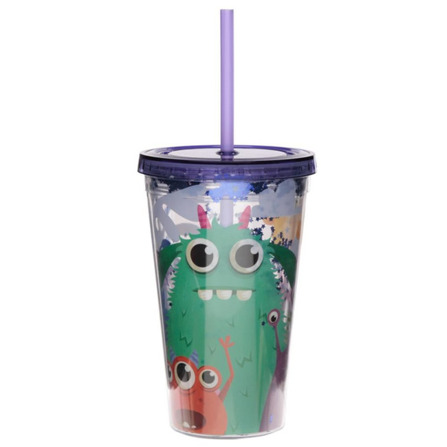 Monstarz Monster Plastic 500ml Double Walled Reusable Cup with Straw and Lid