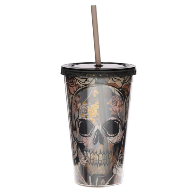 Skulls and Roses Plastic 500ml Double Walled Reusable Cup with Straw and Lid