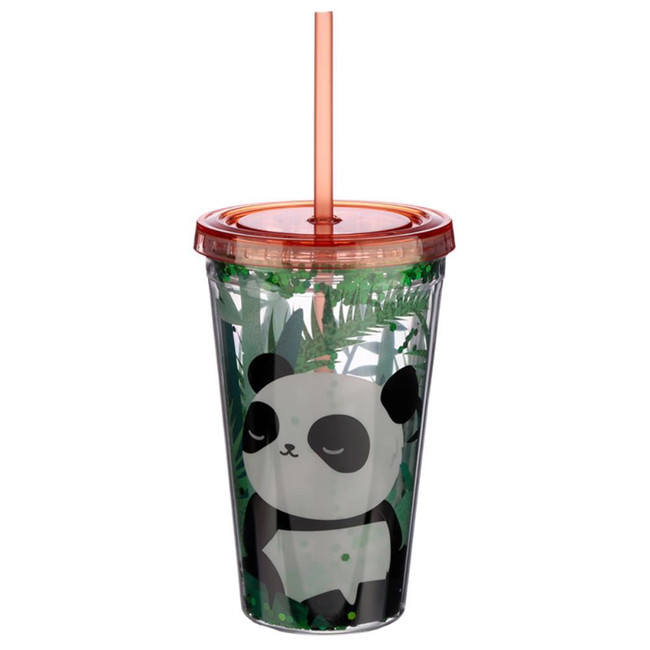 Glitter Pandarama Double Walled Reusable Cup with Straw and Lid