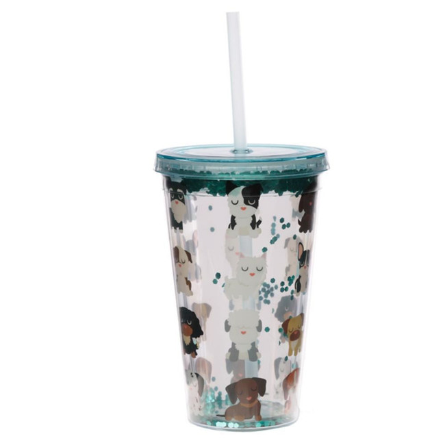 Dog Squad Plastic 500ml Double Walled Reusable Cup with Straw and Lid