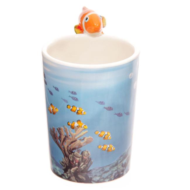 Lisa Parker Clown Fish Handle Ceramic Mug with Decal