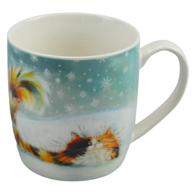Kim Haskins Christmas Ginger Cat Porcelain Mug