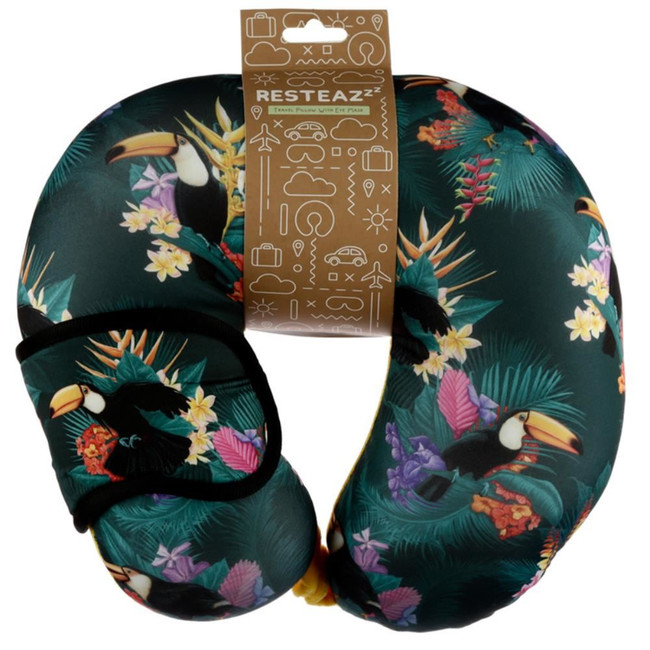 Relaxeazzz Toucan Party Travel Pillow & Eye Mask Set