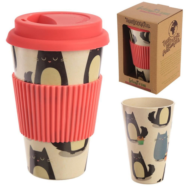 Feline Fine Cat Reusable Bamboo Composite Travel Mug with Silicone Top