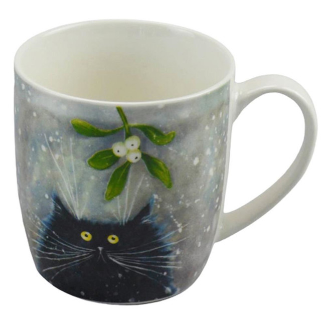 Kim Haskins Christmas Mistletoe Cat Porcelain Mug