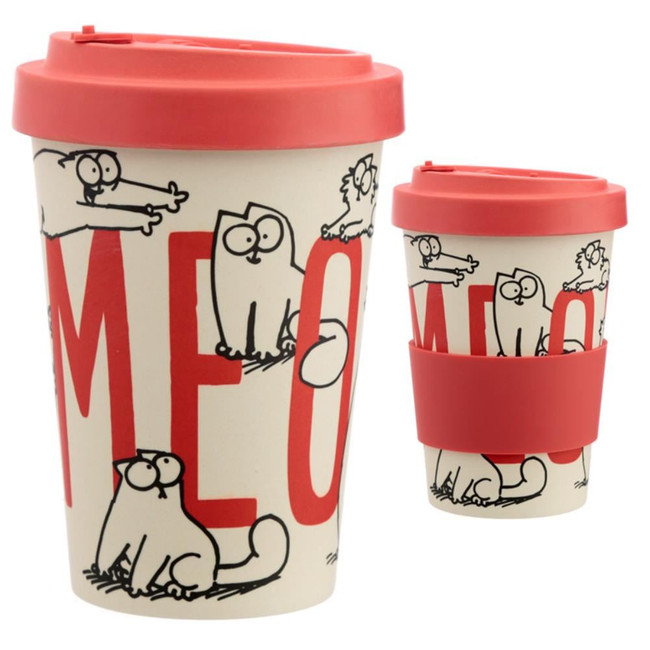 Simon's Cat Reusable Screw Top Bamboo Composite Travel Mug