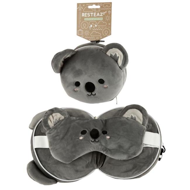 Relaxeazzz Plush Cutiemals Koala Round Travel Pillow & Eye Mask