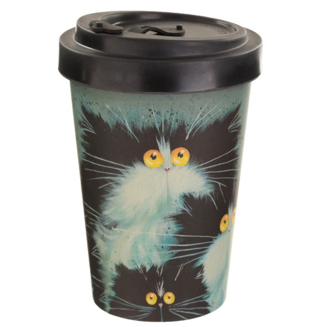 Kim Haskins Cat Print Reusable Screw Top Bamboo Composite Travel Mug