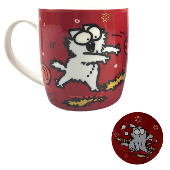 Simon's Cat Christmas Porcelain Mug & Coaster Set