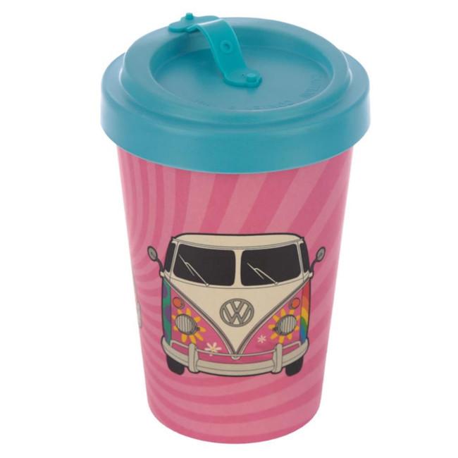 Volkswagen VW T1 Camper Bus Summer Love Screw Top Bamboo Composite Travel Mug