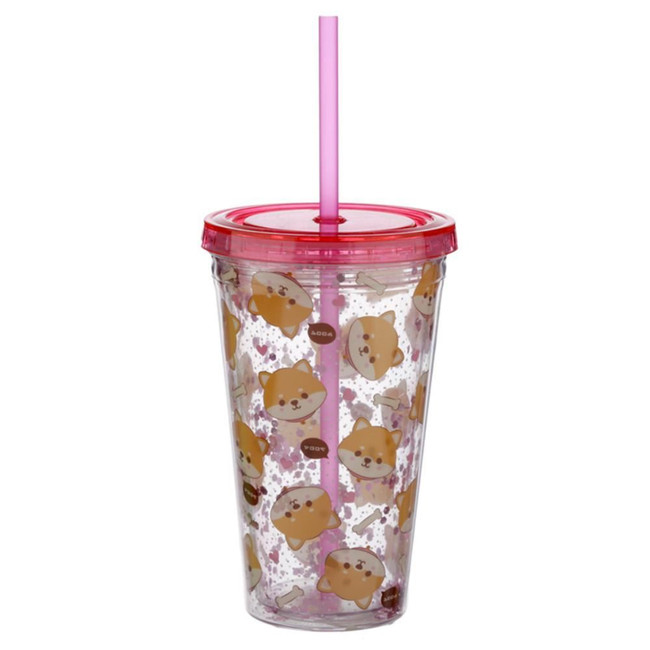Shiba Inu Dog Plastic 500ml Double Walled Reusable Cup with Straw and Lid