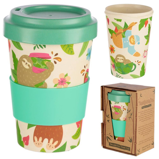 Just Hanging Around Sloth Reusable Screw Top Bamboo Composite Travel Mug