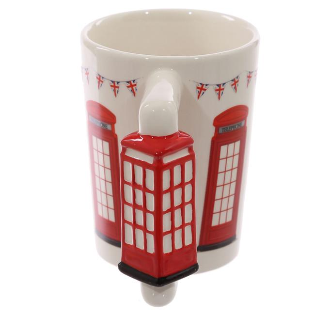 Red Telephone Box Shaped Handle Mug with Decal