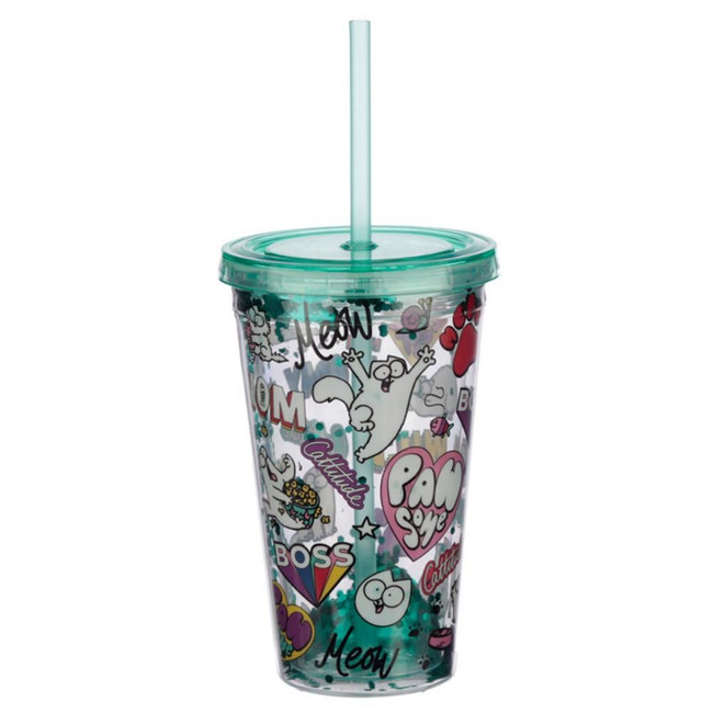 Pawsome Simon's Cat Plastic 500ml Double Walled Reusable Glitter Cup with Lid and Straw