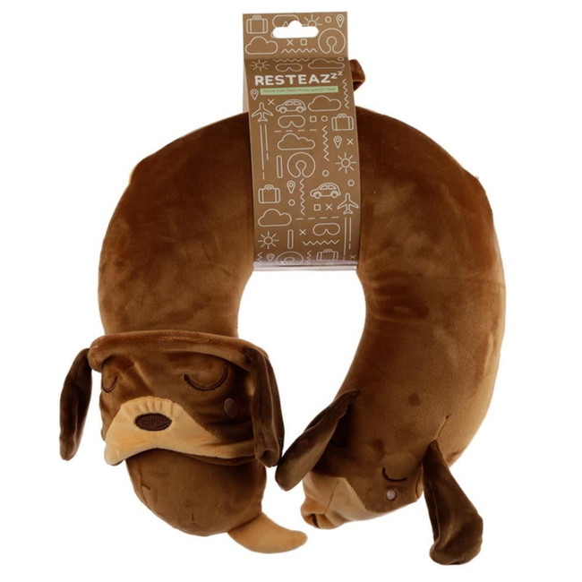 Relaxeazzz Dachshund Dog Plush Memory Foam Travel Pillow & Eye Mask Set