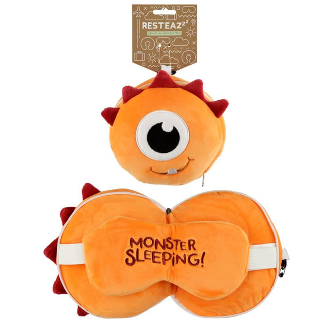 Relaxeazzz Plush Orange Monstarz Monster Round Travel Pillow & Eye Mask