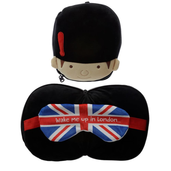 Relaxeazzz Plush Guardsman Round Travel Pillow & Eye Mask