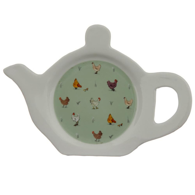 Willow Farm Chickens Porcelain Teapot Shaped Teabag Dish/Holder