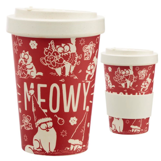 Simon's Cat Meowy Christmas Screw Top Bamboo Travel Mug