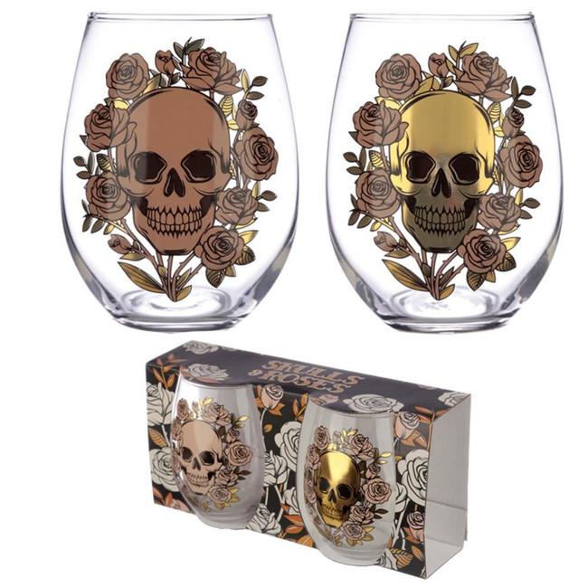 Skulls and Roses Set of 2 Glass Tumblers