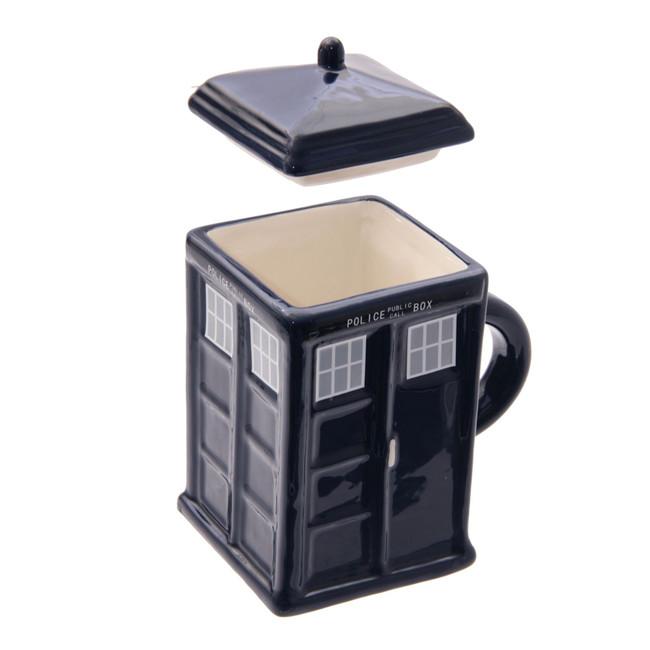 Ceramic Square Police Box Mug with Lid