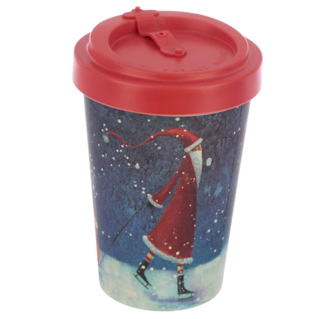 Jan Pashley Christmas Santa Reusable Screw Top Bamboo Composite Travel Mug