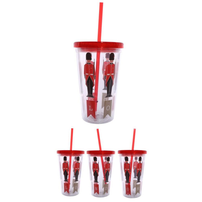 Guardsman Plastic 500ml Double Walled Reusable Cup with Straw and Lid