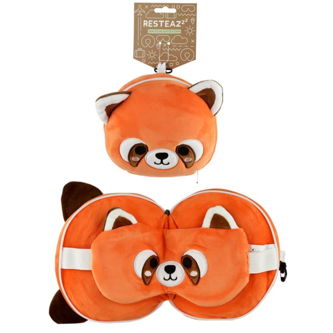 Relaxeazzz Plush Cutiemals Red Panda Round Travel Pillow & Eye Mask