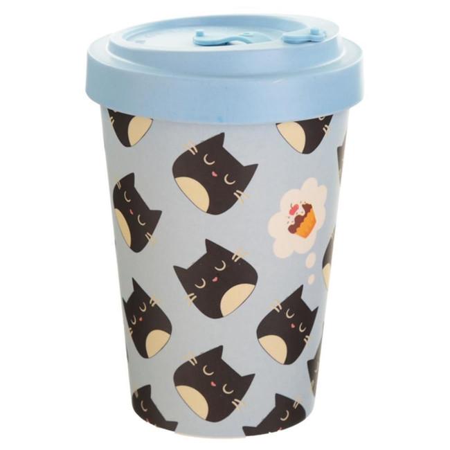 Feline Fine Cat Reusable Screw Top Bamboo Composite Travel Mug