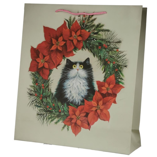 Christmas Kim Haskins Cat Wreath Gift Bag - Extra Large