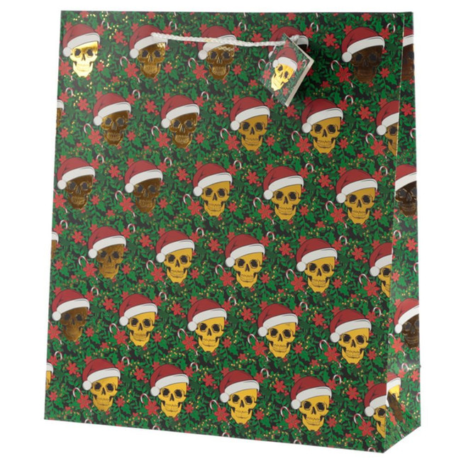 Christmas Skull Metallic Gift Bag - Extra Large
