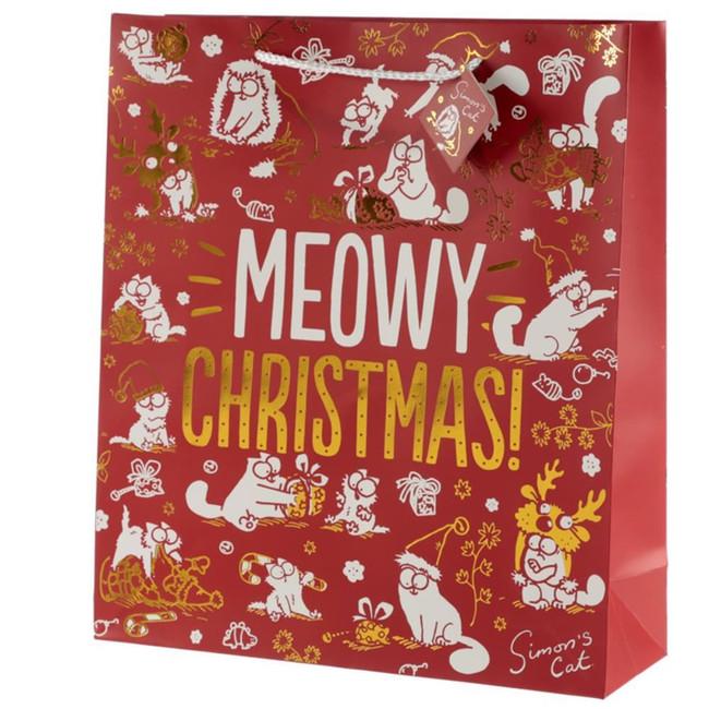 Simon's Cat Meowy Christmas Metallic Gift Bag - Extra Large