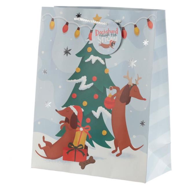 Christmas Dachshund Through The Snow Gift Bag - Large