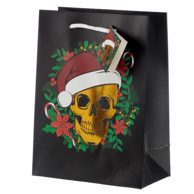 Christmas Skull Metallic Gift Bag - Medium
