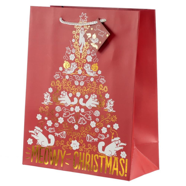 Simon's Cat Meowy Christmas Metallic Gift Bag - Large