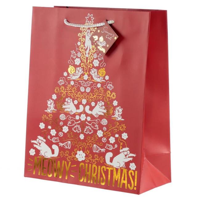 Simon's Cat Meowy Christmas Metallic Gift Bag - Large