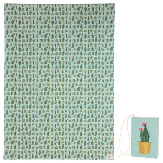 Cactus Sheet Wrapping Paper with Tag 50 x 70cm