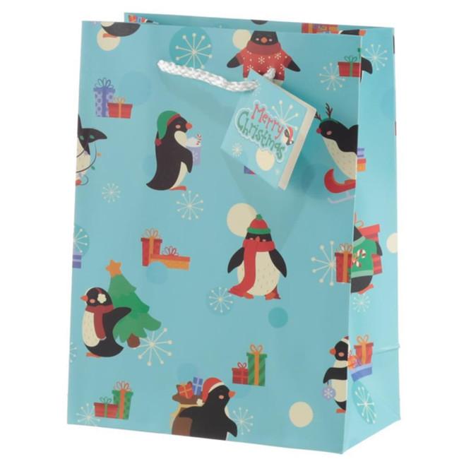 Christmas Penguins Gift Bag - Medium
