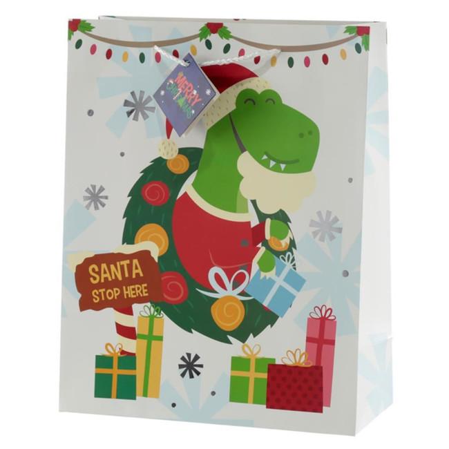 Christmas Dinosaur Gift Bag - Large