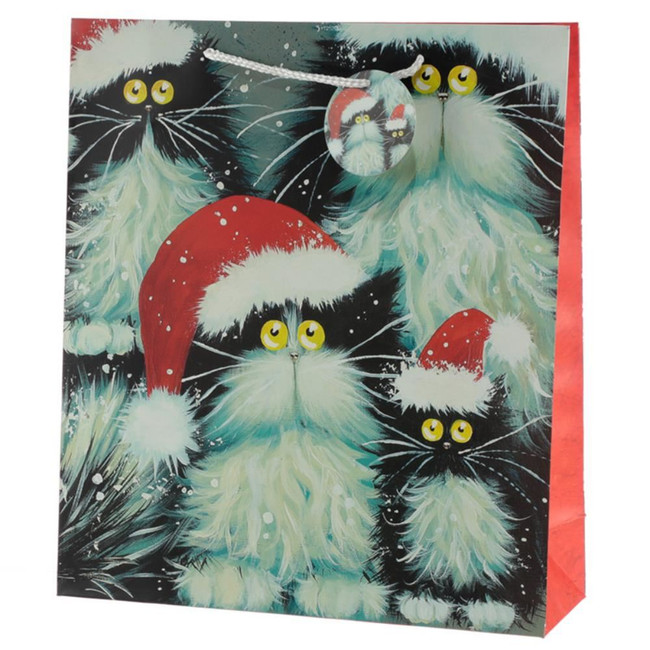 Kim Haskins Christmas Cats Gift Bag - Extra Large