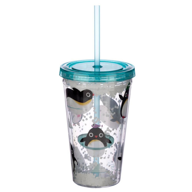 Huddle Penguin Plastic 500ml Double Walled Reusable Cup with Straw and Lid