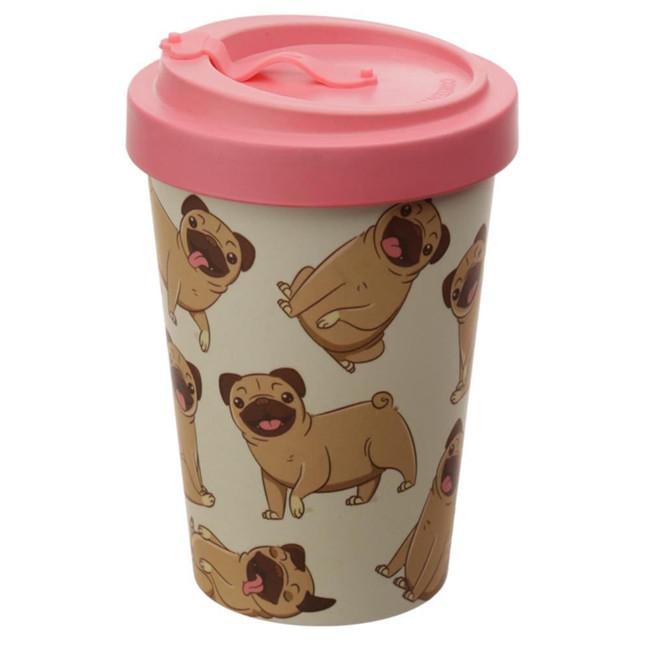 Mopps Pug Reusable Screw Top Bamboo Composite Travel Mug