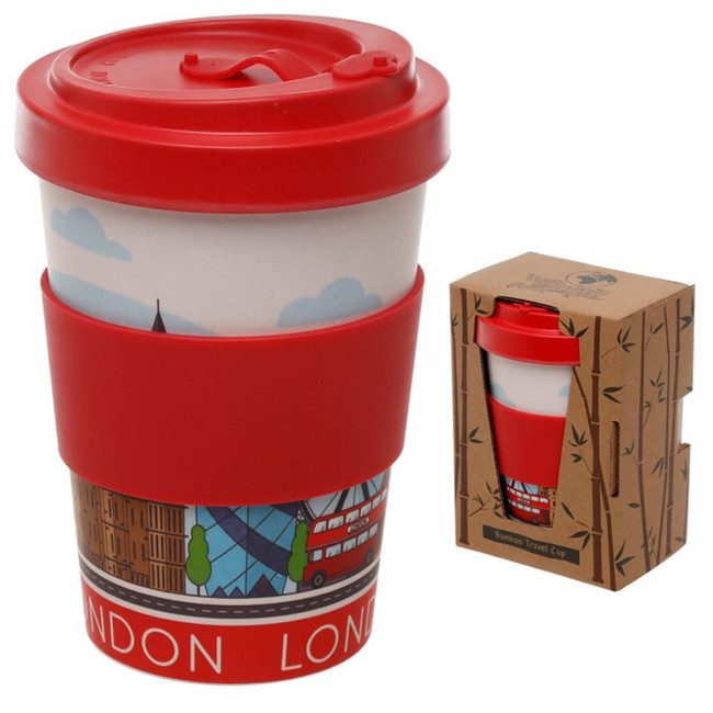 London Icons Reusable Screw Top Bamboo Composite Travel Mug