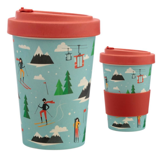 Peak Season Ski Reusable Screw Top Bamboo Composite Travel Mug