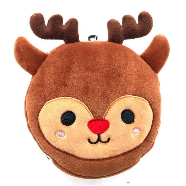 Relaxeazzz Plush Christmas Reindeer Round Travel Pillow & Eye Mask