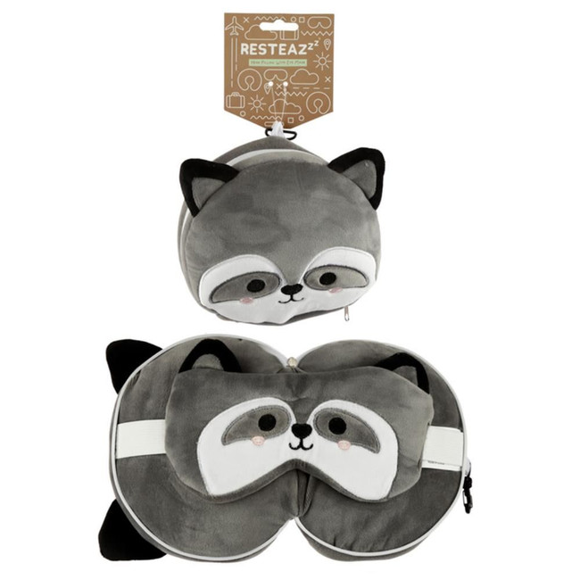 Relaxeazzz Plush Cutiemals Raccoon Round Travel Pillow & Eye Mask