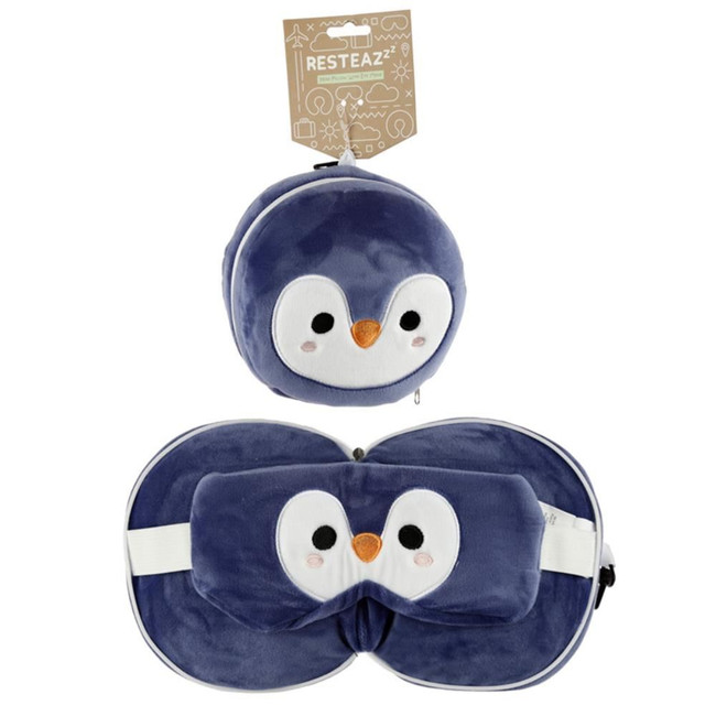 Relaxeazzz Plush Cutiemals Penguin Round Travel Pillow & Eye Mask